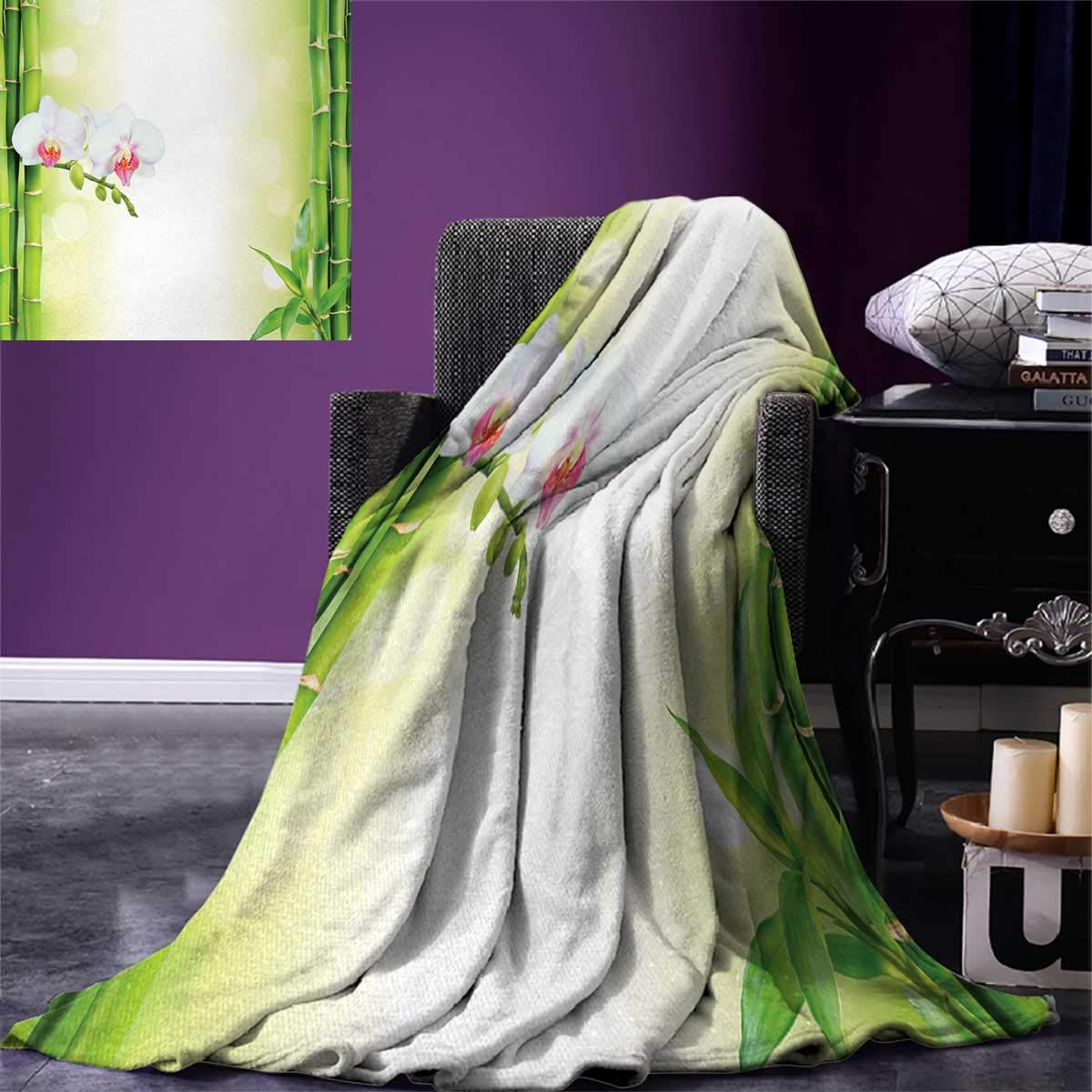 Spa Digital Printing Blanket Orchid Flowers with Bamboo Branches in Vibrant Colors Spiritual Practice Theme Summer Quilt Comforter 80''x60'' White and Green