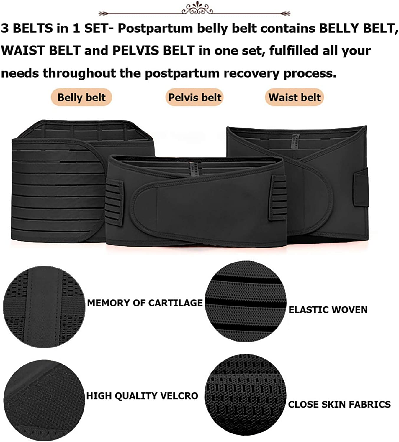 Postpartum Support Recovery Belly Wrap Girdle Support Band Belt Body Shaper