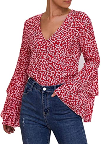 Luckycat Casual de Mujer Solid Camisa Manga Larga Blusa Camisas con Volantes Camisa Elegante para Mujer Mangas Largas y Cuello V Blusa Ligera Mangas Acampanadas para Mujer: Amazon.es: Relojes