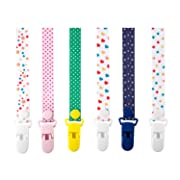 Pacifier Clip for Boys Girls Unisex Pacifier Holder Set for Soothies or Teething Toy Premium Plastic Clip (Button Design)