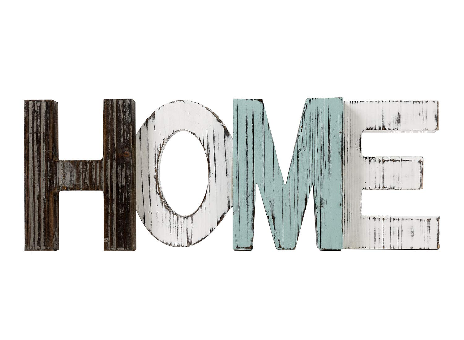TIMEYARD Rustic Wood Home Sign Decor, Decorative Word Signs, Freestanding Cutout Word Table Decor Centerpiece, Multicolor