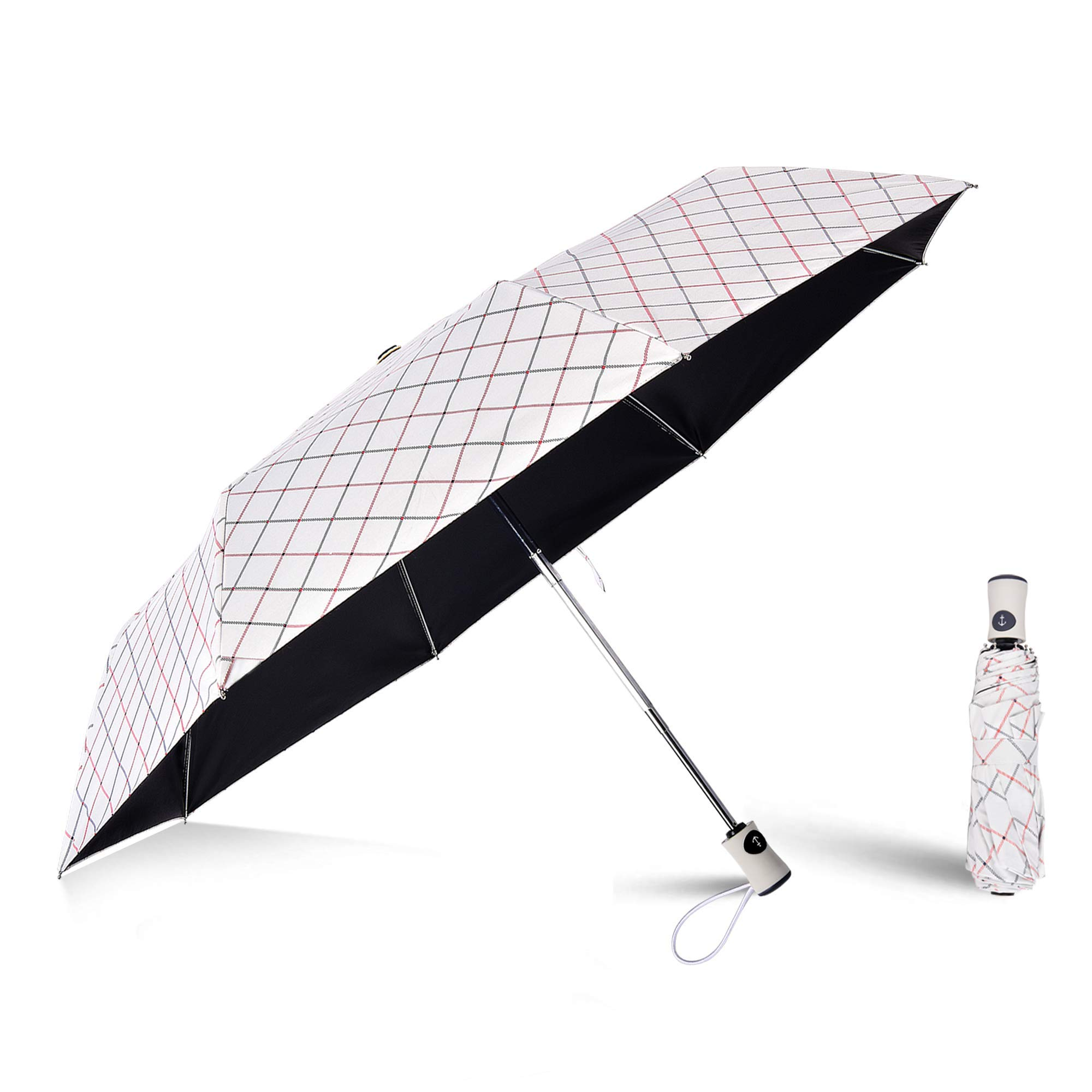 FILWO Handheld Sun Umbrella UV Protection, Automatic Travel Umbrella Compact Windproof, Folding Sun & Rain Umbrella 99% UV Protection Parasol with Anti-UV Coating