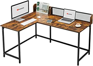 WOHOMO L Shaped Desk 65'' Large 2 Person Long Table for Large Home Office Desk Modern Simple Study Writing Table Industrial Style, Rustic Brown