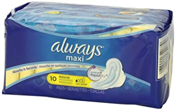 Always Maxi Thin Regular Pads with Flexi-Wings, 10-Count (Pack of