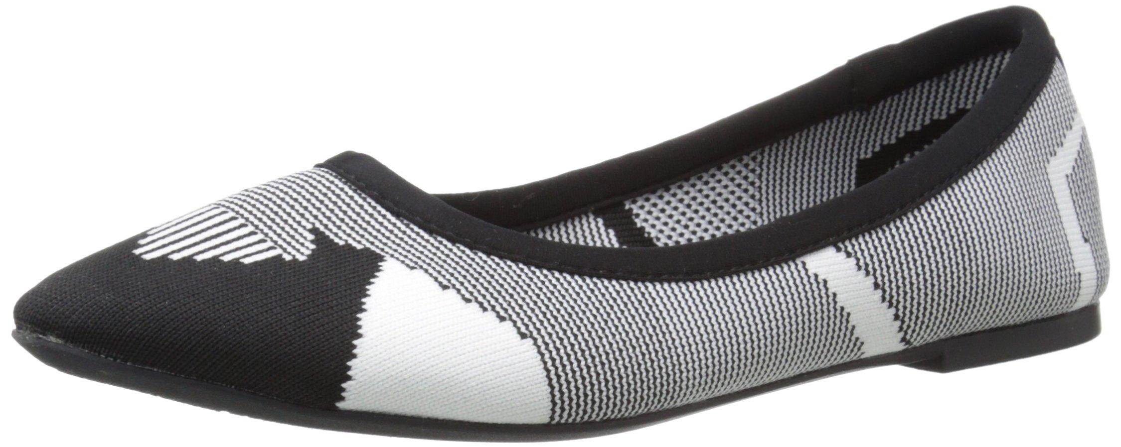 Skechers Women's Cleo Wham Flat, Black/White, 9 M US