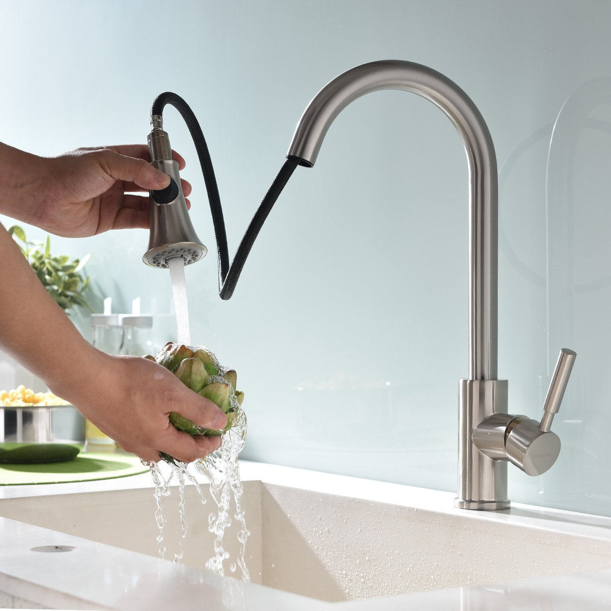 SHACO Best Single Handle Kitchen Sink Faucet, Brushed Nickel Faucets ...