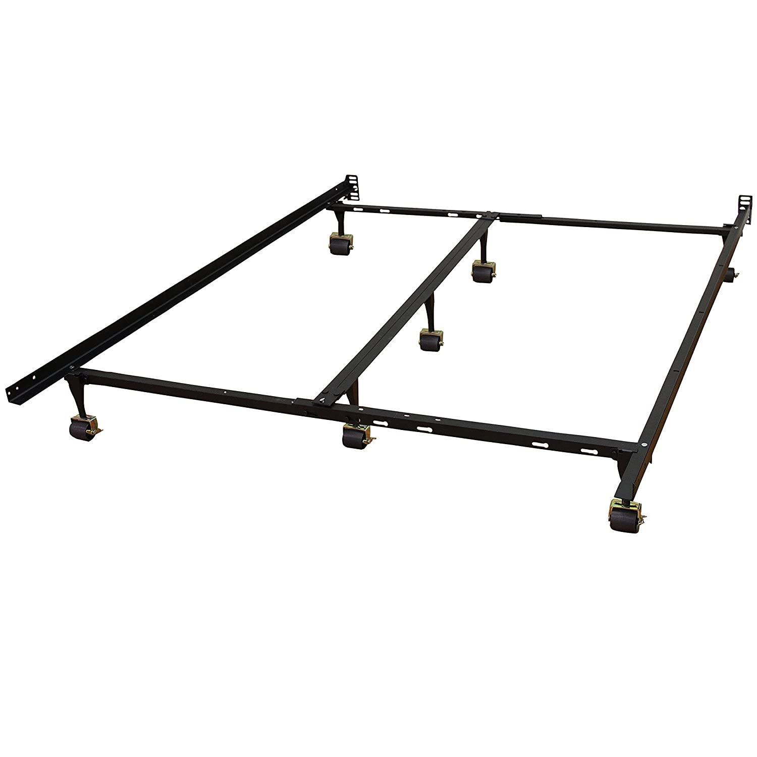 hercules universal heavy duty adjustable metal bed frame with double rail center bar and 7 locking rug rollers queentwin