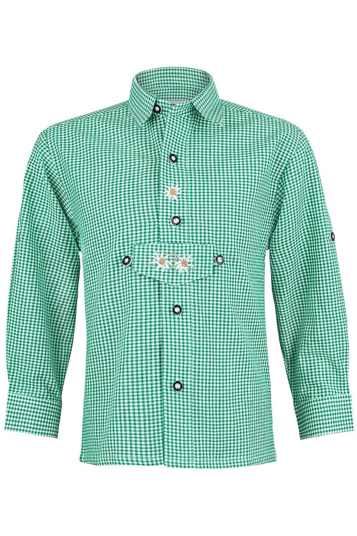 Jungen Isar-Trachten Trachten Kinderhemd grün, grün,