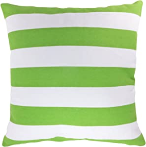 "Blue Dolphin Decorative Printed Stripes Floral Throw Pillow Cover 18"" Lime Green"