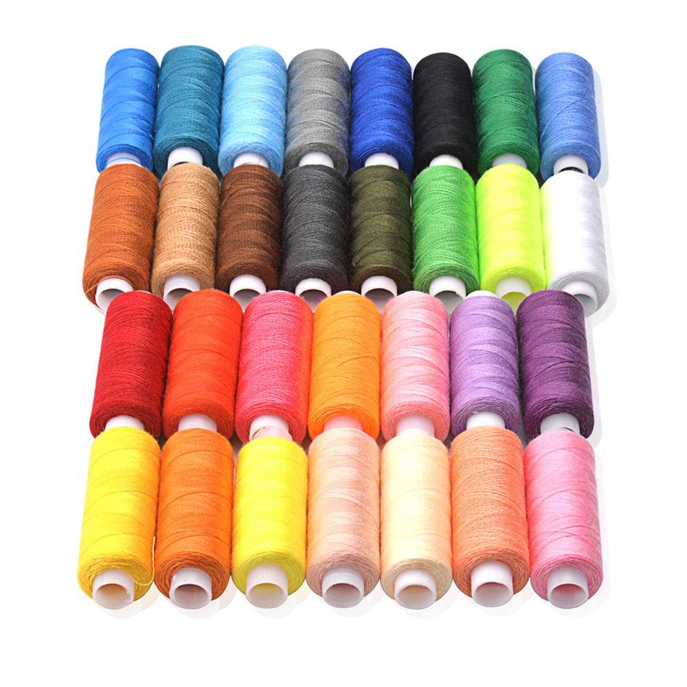 CiaraQ 30 Spool Sewing Thread,250 Yard Each Assorted Spool Threads Sewing Thread Bobbins of Colorful Assorted Thread Spool for Embroidery Machine Use