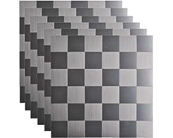 KASARO Metal Peel and Stick Backsplash Aluminum Stainless Steel Self Adhesive Tile Stick on Mosaic Tile for Kitchen Wall Bath