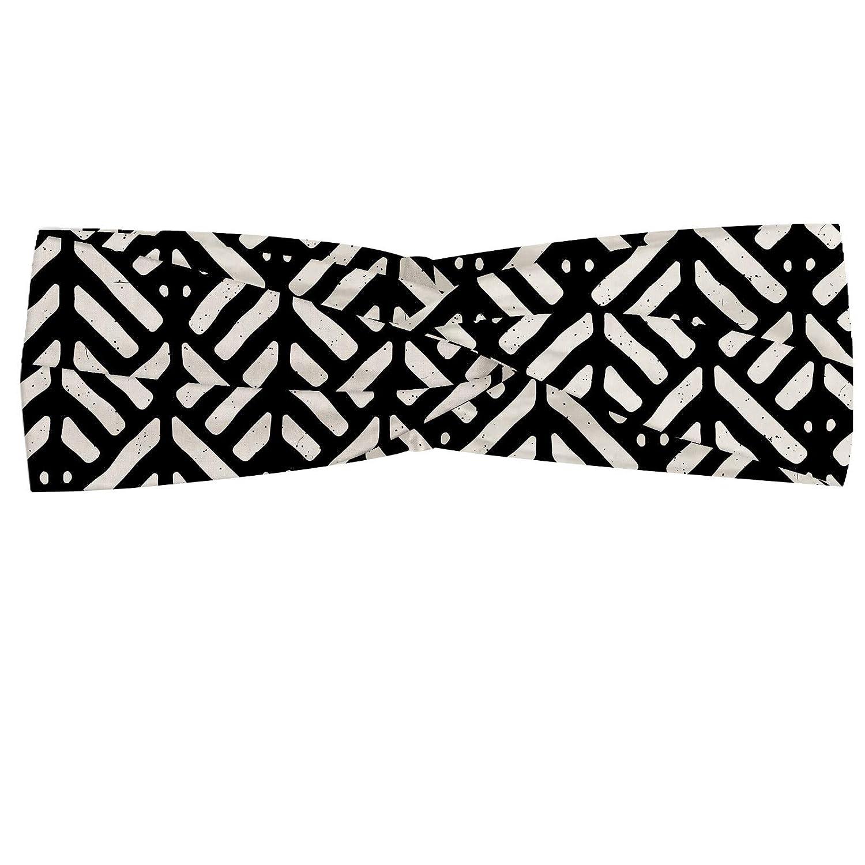 Schwarz-Weiss ABAKUHAUS Schwarz und wei/ß Halstuch Bandana Kopftuch Abstrakte Hand gezeichnete Linien Retro-Stil mit Grunge-Effekt Geometric Design Elastisch und Angenehme alltags accessories