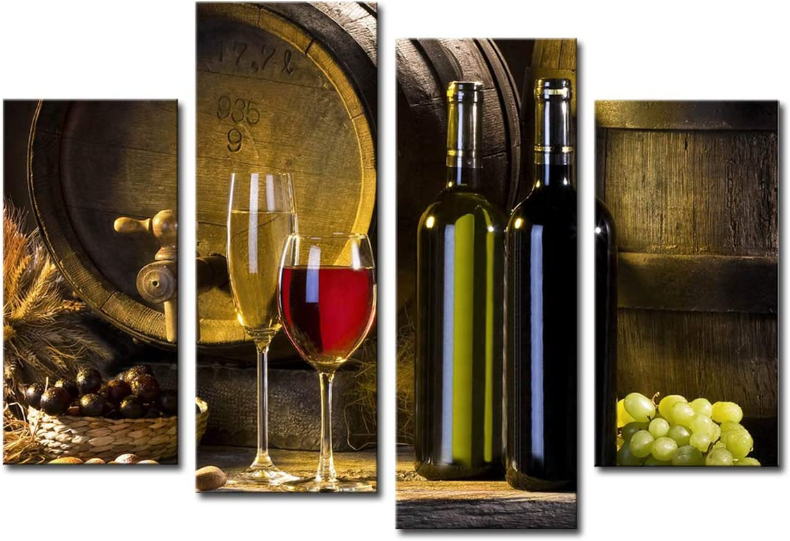 Noah Art-Modern Still Life Art Print, Red Wine Barrel Grape and Wine Bottle Paintings Photo to Canvas Prints Wall Art, 4 Panel Stretched Still Life Canvas Art for Dining Room Wall Decor