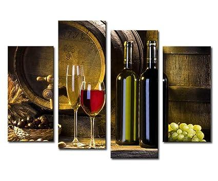 Lovely Noah Art Modern Still Life Art Print, Red Wine Barrel Grape And Wine Bottle