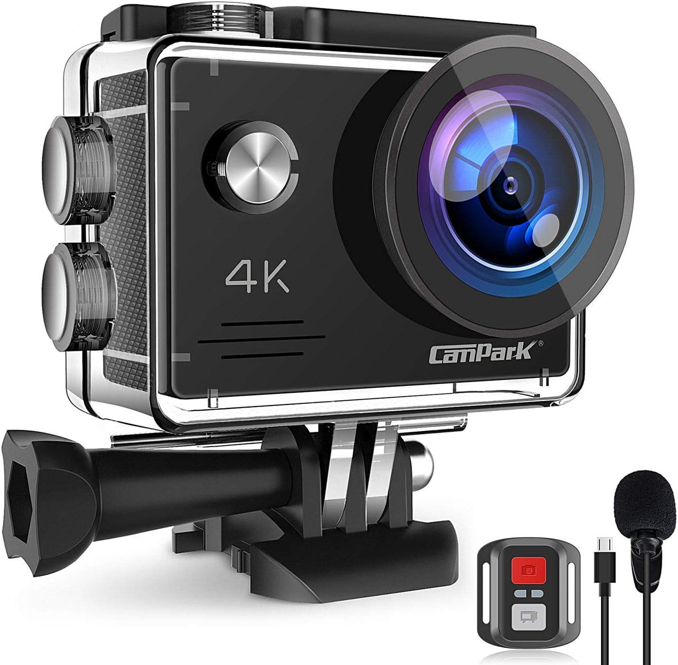 Campark X5 Cámara Deportiva 4K Wi-Fi 20MP (Cámara de Accion Acuatica de 40M con Micrófono Externo y Control Remoto, Funciones Anti-Shaking y Time Lapse): Amazon.es: Electrónica