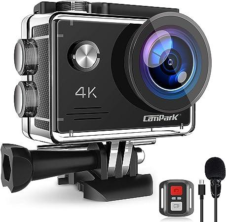 Campark X5 Cámara Deportiva 4K Wi-Fi 20MP (Cámara de Accion Acuatica de 40M con Micrófono Externo y Control Remoto, Funciones Anti-Shaking y Time ...