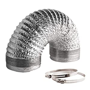 VIVOSUN 8 Inch 25 Feet Non-Insulated Flex Air Aluminum Ducting for HVAC Ventilation w/Two 8 Inch Stainless Steel Clamps