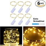 Pack of 6 LED Moon Starry String Lights with 20 Micro LEDs on 5feet/1.5m Silver Coated Copper Wire, 2 x CR2032 Battery Power(Included), for DIY Wedding Centerpiece or Table Decorations (Warm White)
