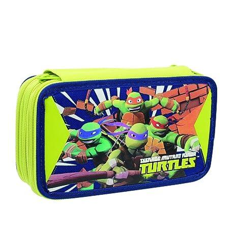 38b058baff Tartarughe Ninja Astuccio Triplo Plus con Colori, Pennarelli ed Accessori  Scuola, Poliestere, Blu