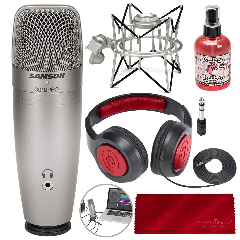 Samson Stereo Headphones and FiberTique Cleaning Cloth Samson C01U Pro USB Studio Condenser Microphone W//Spider Shock Mount Microphone sanitizer