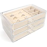 Jewelry Boxes for Women with 3 Drawers, Velvet Jewelry Organizer for Earring Bangle Bracelet Necklace and Rings Storage…