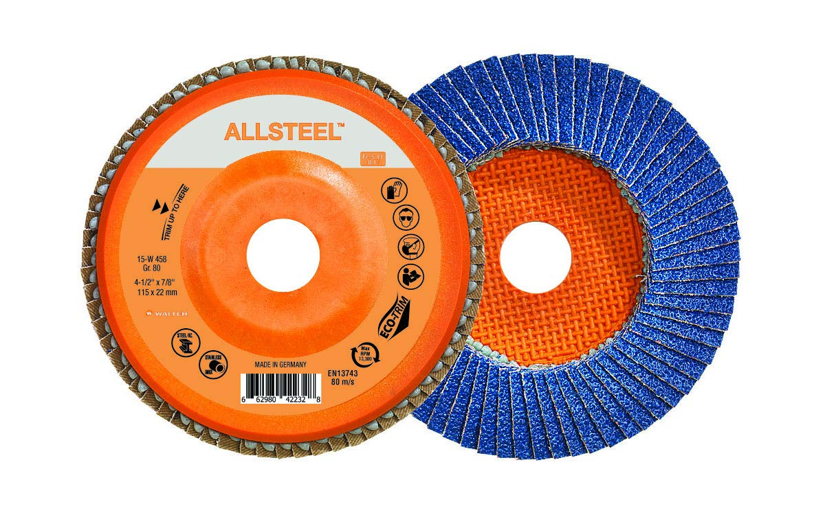 Grinding Disc for Angle Grinders - 60 Grit Pack of 10 Walter 15W456 ALLSTEEL Flap Disc 4-1//2 in Abrasive Grinding Supplies