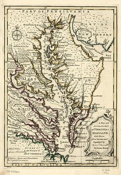 Amazon Com 1752 Map Of Virginia Maryland Maryland United States