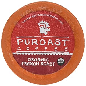 Puroast Low Acid Coffee Organic Single Serve, 2.0 Keurig Compatible French Roast, 12 Count