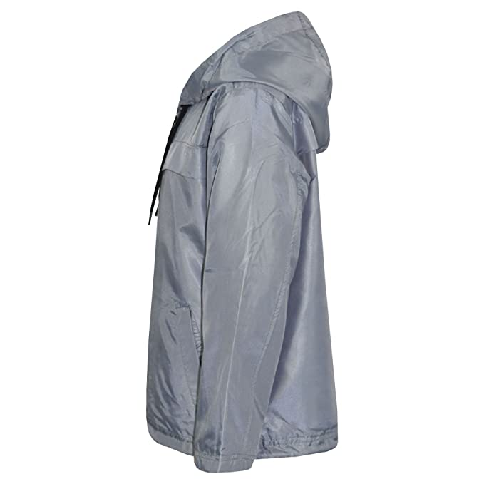7687299d3a88 Amazon.com  Kids Girls Boys Silver Hooded Raincoat Cagoule ...