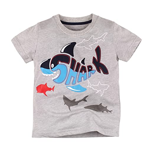 2397af59 Toddler Boys Dinosaur Shark Print T-Shirt Kids Cotton Summer Short Sleeve  Tee Shirts 2