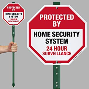 """SmartSign""""Protected by Home Security System, 24 Hour Surveillance Sign for Lawn 