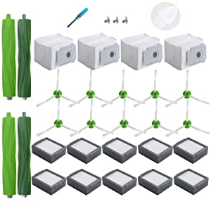 Loveco Replacement Accessories Kit Compatible for iRobot Roomba i Series i7 i7+ i7 Plus Robotics, 4 Dirty Disposal Bag,10 Filter,10 Sweeping Brush,2 Rubber Brush