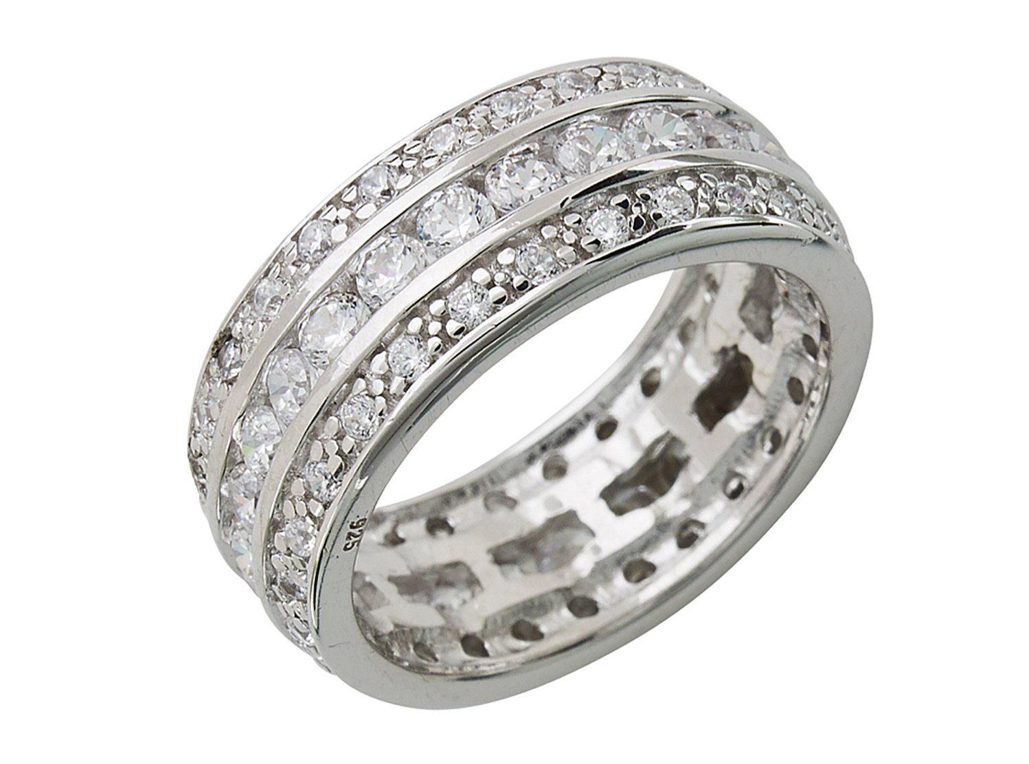 Eva's Wedding Band Ring - Triple Row CZs in Sterling Silver Size : 8