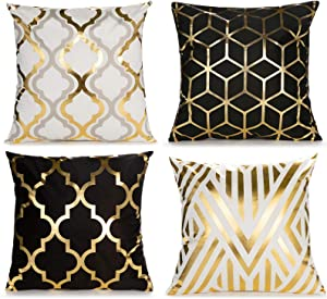 Home Decorative Set of 4 Throw Pillow Covers Gold Foil Geometric Pillow Covers 18 ×18 Inch Cushion Covers for Couch Sofa Bedroom(Black and White)