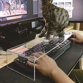 L&QQ - Protector de teclado acrílico transparente anti gato, 2 en 1, protector de puente de teclado y soporte de monitor
