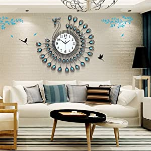 JUCK Luxury Large Wall Clock Silent Metal Dial Diamonds Peacock Clocks Blue Decortion Home Living Room Bedroom 25.6 inch (Color : Blue-Peacock)