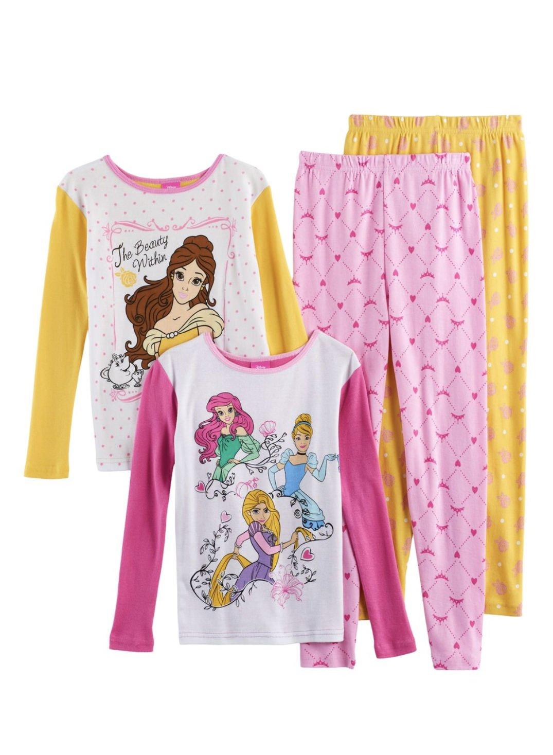 AME Disney Princess Girls 4-Piece Tops & Bottoms Pajama Set (Multi, 10)