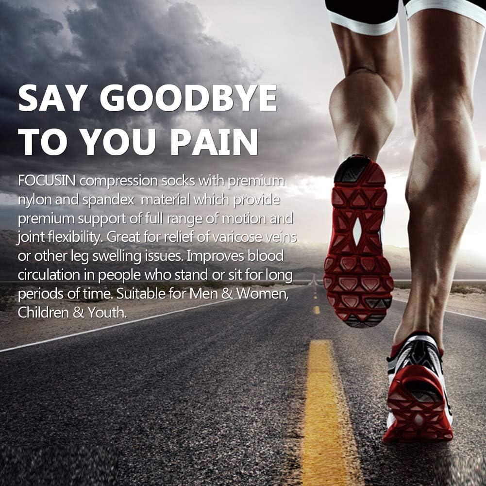 FOCUSIN Sport Compression Socks 20-30 mmHg for Men Women Medical Nurses Athletic Travel