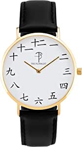 The Pluralist Watch Kan'ji Yellow Gold Unisex Stainless Steel Quartz Wrist Analog Watch with 40mm Case, Black Leather Band and Thin Dial