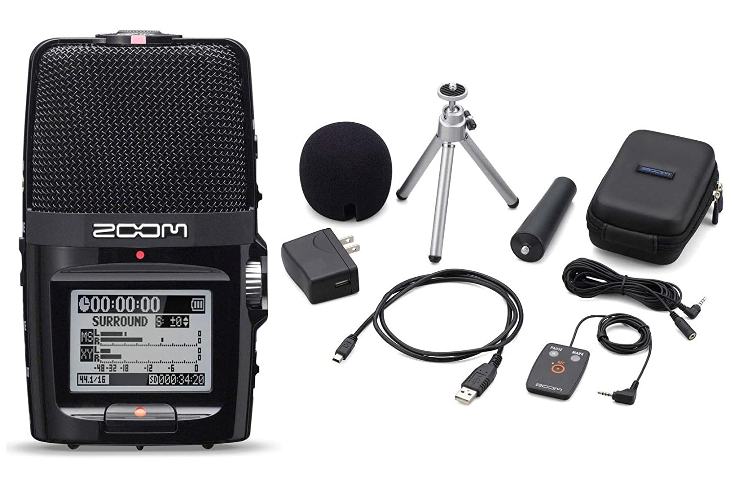 Zoom H2n Handy Handheld Digital Multitrack Recorder Bundle with APH-2n Accessory Pack H2N-COMBO-AMZ-1