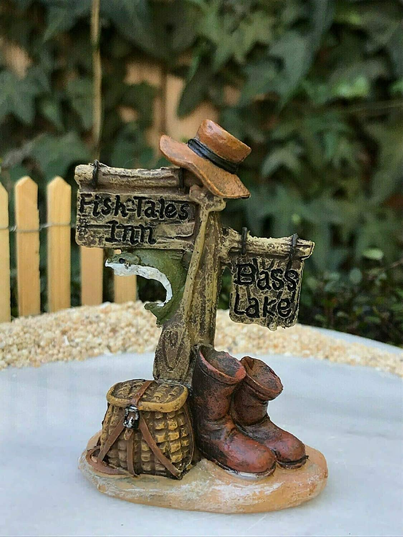 Miniature Dollhouse FAIRY GARDEN ~ Mini Fish Tales Inn Bass LAKE Fishing Sign Fairy Garden, Micro Landscape, Craft Decor