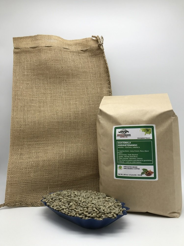 10 LBS – GUATEMALA HUEHUETENANGO (includes a FREE BURLAP BAG) Specialty-Grade, CURRENT-CROP Green Unroasted Coffee Beans – Strictly Hard Bean – Processing Fully Washed – High Altitude Farms