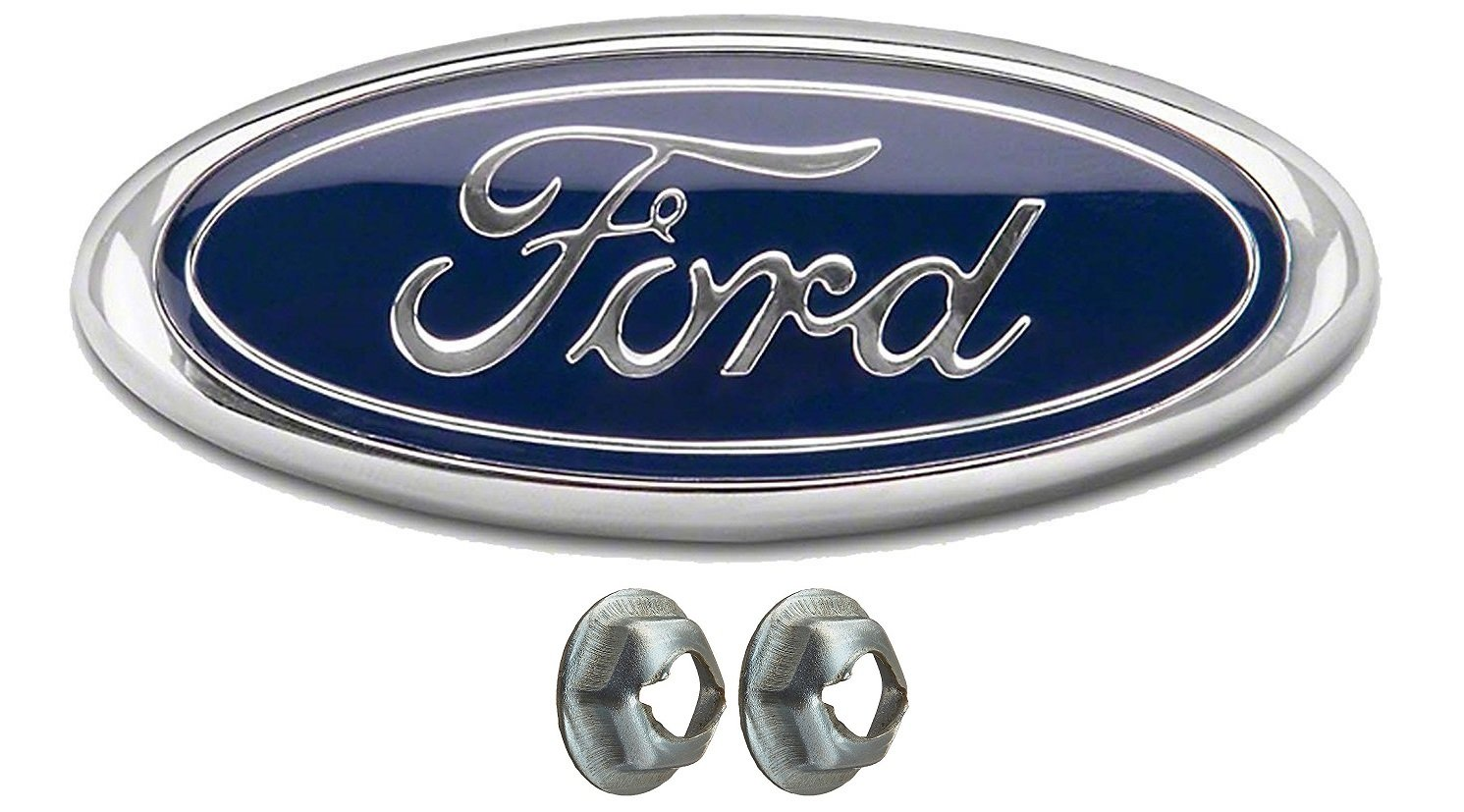 Oval 9X3.5 Muzzys FORD F150 Dark Blue Grille or Tailgate Emblem WITH NUTS 2005-14 Front Grill Badge Name Plate Also Fits 05-07 F250 F350 11-14 Edge 11-16 Explorer 06-11 Ranger Oval 9X3.5 Achoc 9L5Z-9942528-A // AL3Z9942528-B 3 Mounting Tabs