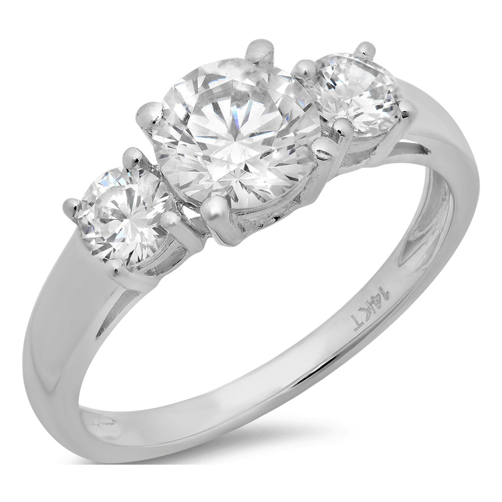 Clara Pucci 1.4 CT Round Cut Solitaire Three Stone Ring 14K White Gold Engagement Wedding Band, Size 6