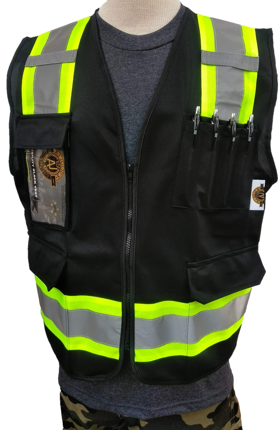 HIGH VISIBILITY BLACK VEST''NEW. ASIN: B07JFS9CS7 4XL-LARGE