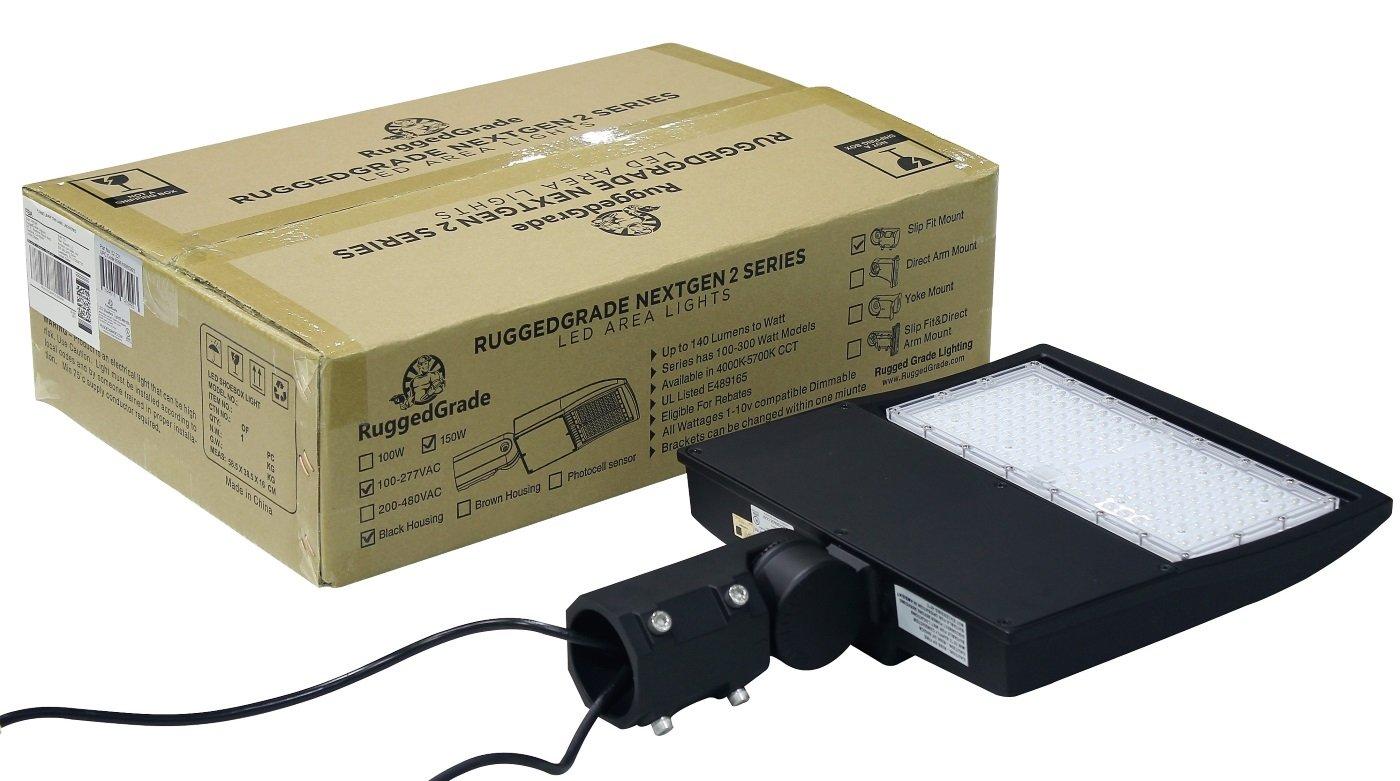 5000K Bright White LED Shoebox Lights -Slip Fit Mount 150 Watt NextGen 2 LED Parking Lot Lights DLC Premium RuggedGrade 52-221 Replaces 500W Halide Super Efficiency 130 Lumen to Watt 20,060 Lumen