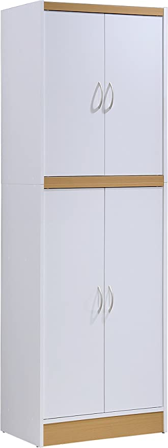 Amazon Com Hodedah 4 Door Kitchen Pantry With Four Shelves White Furniture Decor