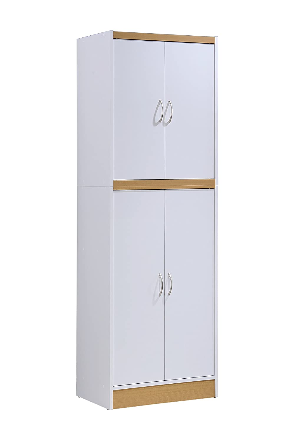 Hodedah 4 Door Kitchen Pantry with Four Shelves, White