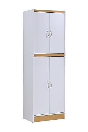 Hodedah 4 Door Kitchen Pantry With Four Shelves, White by Hodedah Import