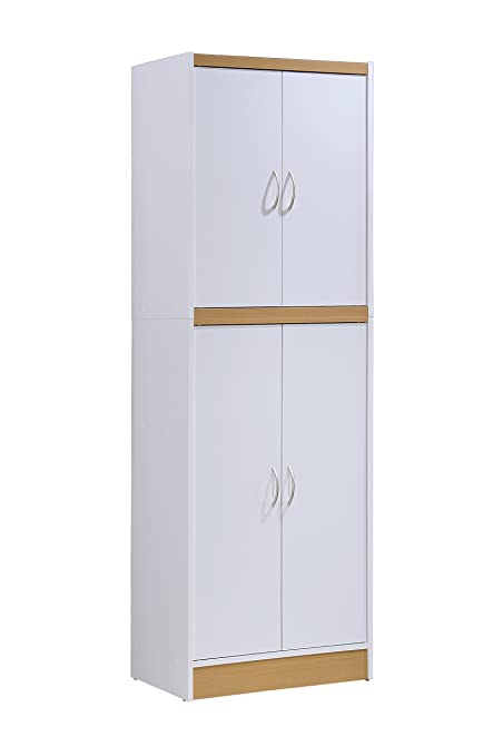Genial Hodedah 4 Door Kitchen Pantry With Four Shelves, White